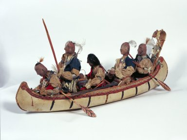 Indians in birchbark canoe, model