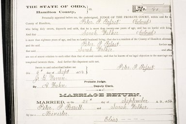 Marriage Record, Peter Fossett and Sarah Walker