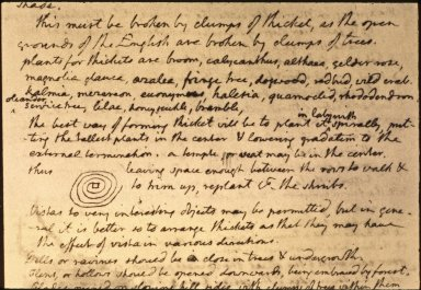 """Jefferson memorandum, """"This must be broken by clumps of thickets..."""""""