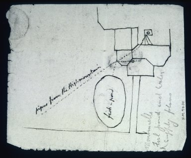 Monticello, Fish pond and water supply flows, sketch