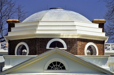 Monticello, West Front, detail of done and pediment