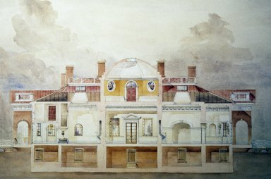 Monticello, section through west elevation