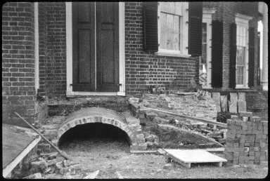 Monticello, restoration, West corner terrace, after cheekwall and terrace fill removal