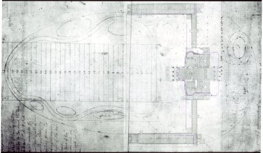 Monticello, house and grounds study superimposed on HABS plan for house and terraces