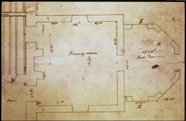 Monticello, First House, plan, Dining Room and North Bow, detail