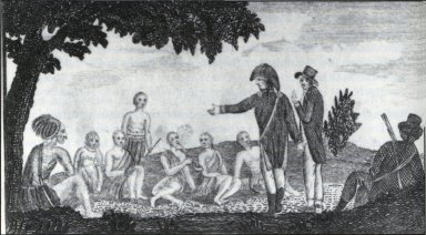 """Captains Lewis and Clark holding a Council with the Indians"""