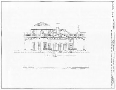 Monticello, South Elevation