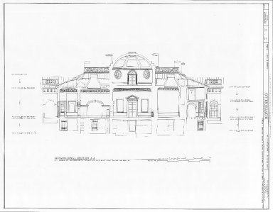 Monticello, West Front, longitudinal section