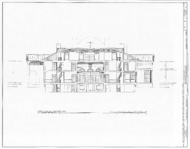 Monticello, East Front, Longitudinal Section