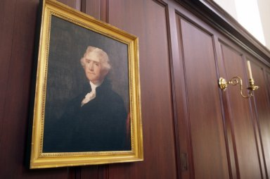 Wren Building, College of William and Mary, Colonial Williamsburg, interior, portrait of Thomas Jefferson