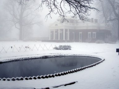 Monticello, fish pond and west elavation in snow
