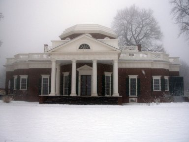 Monticello, west elevation in snow