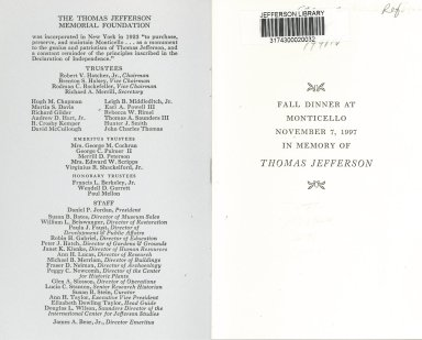 """Fall Dinner at Monticello, November 7, 1997"" back cover and list of trustees and staff"