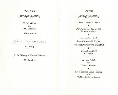 """Fall Dinner at Monticello, November 7, 1997"" Toasts and Menu"