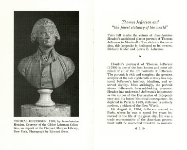 "Thomas Jefferson and ""the finest statuary of the world"""