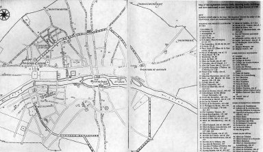 Map, Late eighteenth century Paris, showing roads, buildings, and sites mentioned in the text, based on Plan Routier of 1792