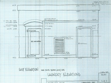 East Elevation, Laundry Elevations, North Terrace, sheet 3 of 5, detail