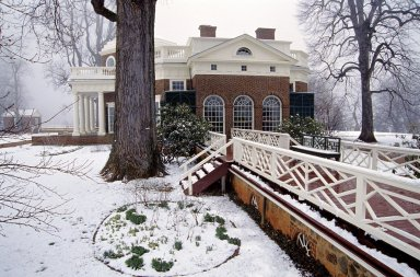 Monticello, South Piazza from South Terrace, snow