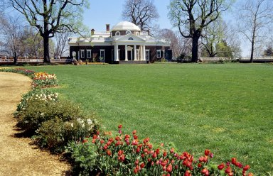 Monticello, West Front, from tulips