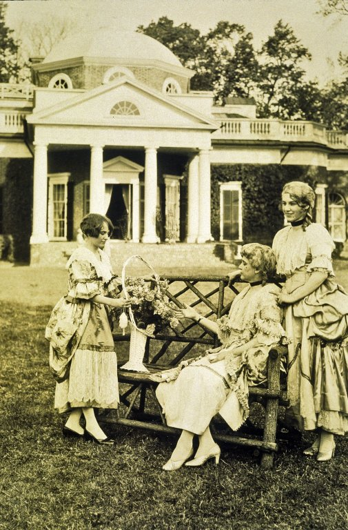 Montcello, West Lawn, three women in period costume
