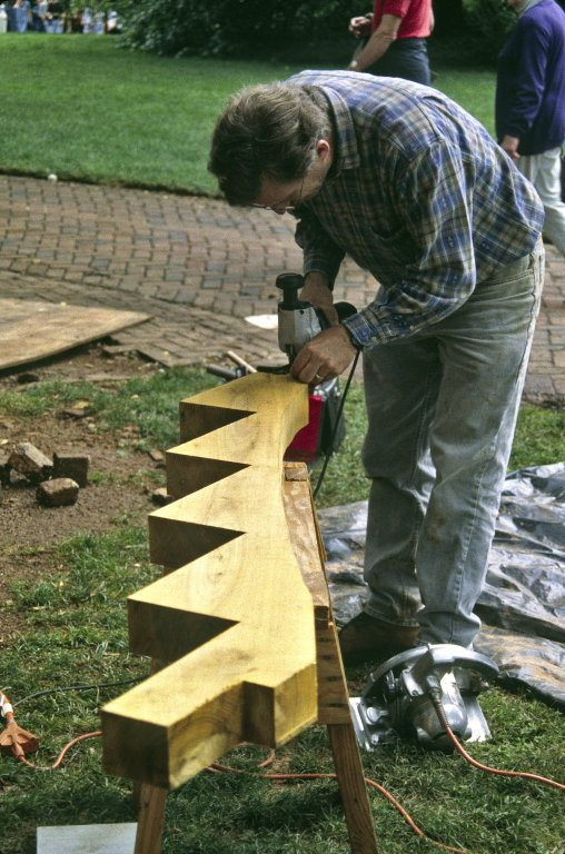 Monticello, restoration, East corner terrace, cutting stair [] to fit arch