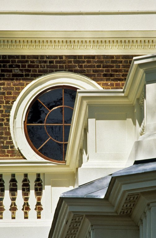 Monticello, restoration, intersection of balustrade and southeast Dome window