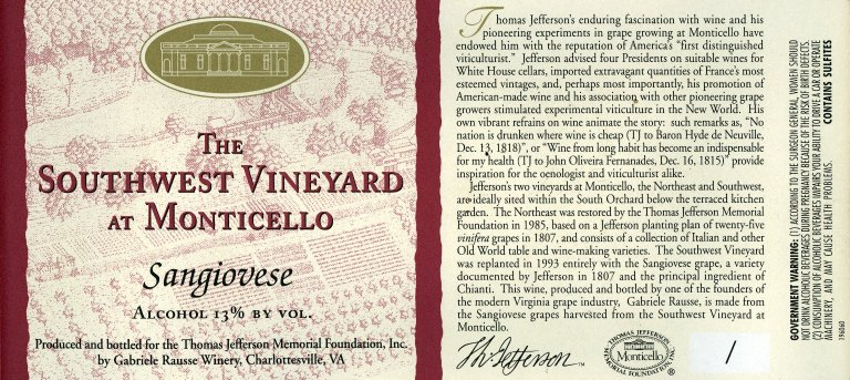 Wine label, The Southwest Vineyard at Monticello, Sangiovese