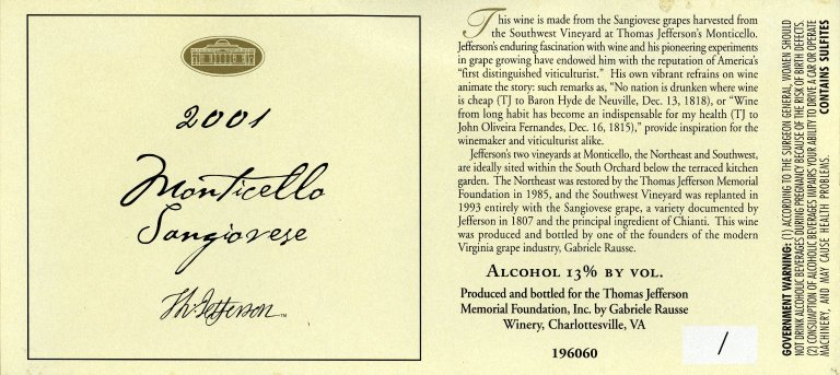 Wine label, Monticello Sangiovese, 2001 (banned by ATF)