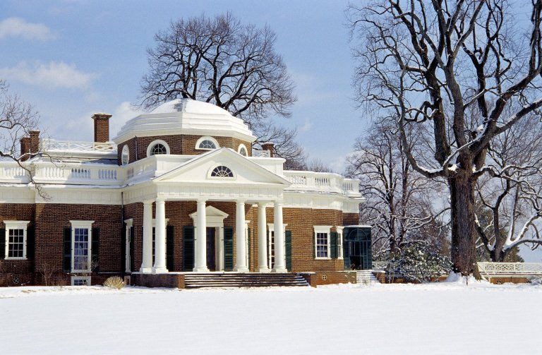 Monticello, West Front, snow
