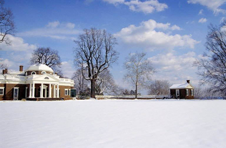 Monticello, West Front and South Pavilion, snow