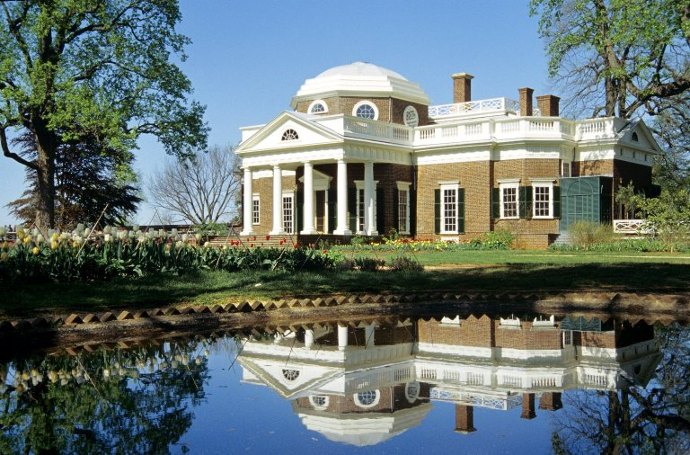 Monticello, West Front with Fish Pond
