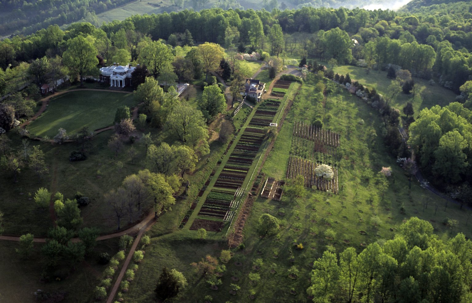 Monticello, from above, vegetable garden and orchard