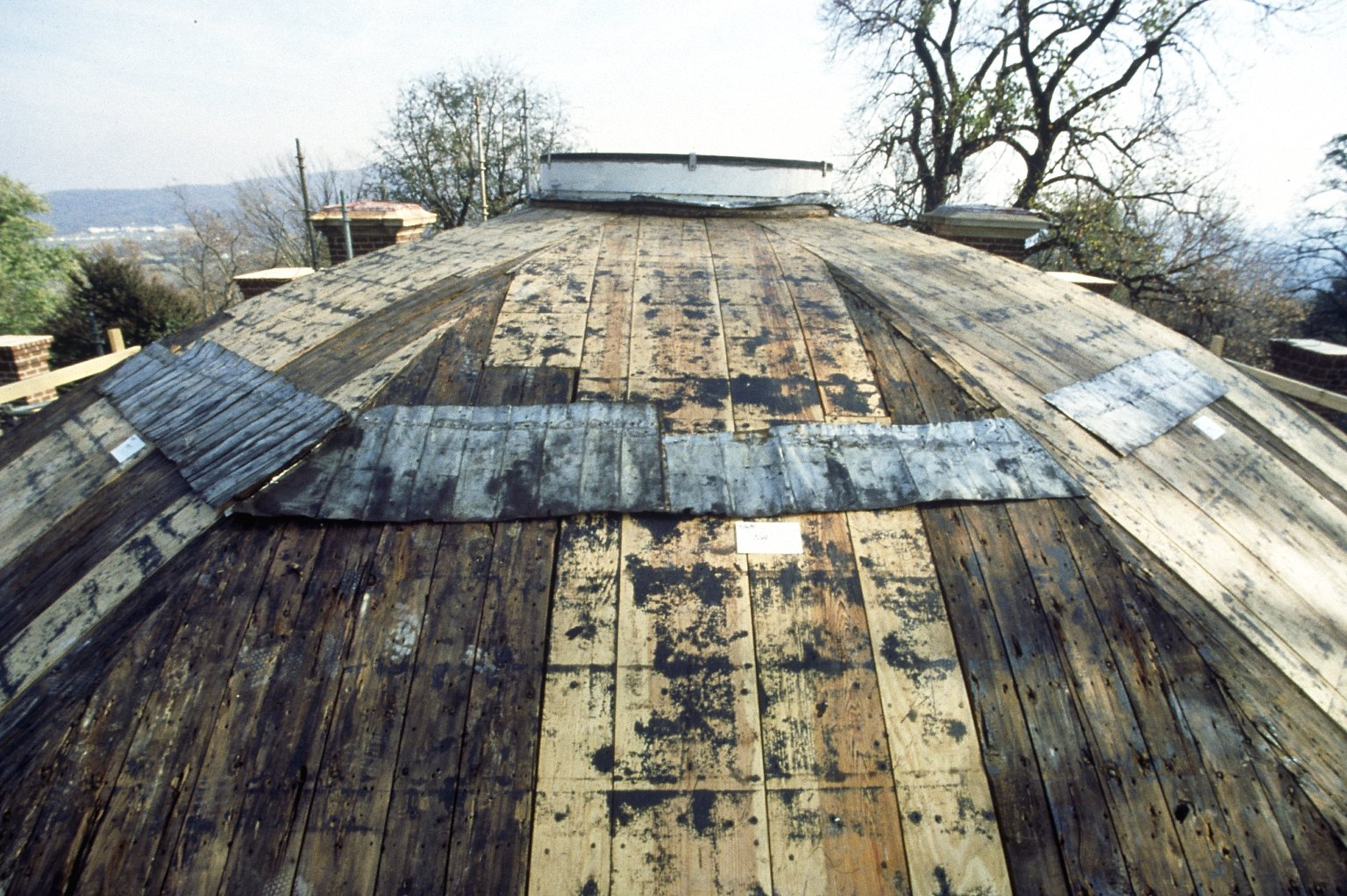 Monticello, top row of original shingles relocated on dome sheathing, southwest segment