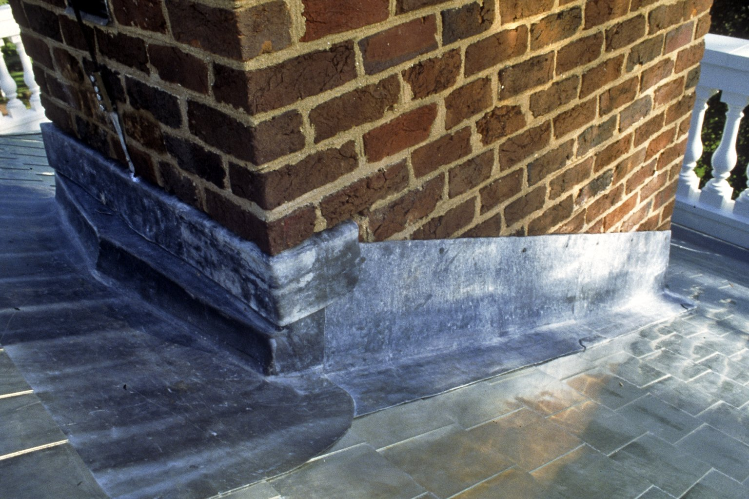 Monticello, complete lead flashing, east chimney, southeast side