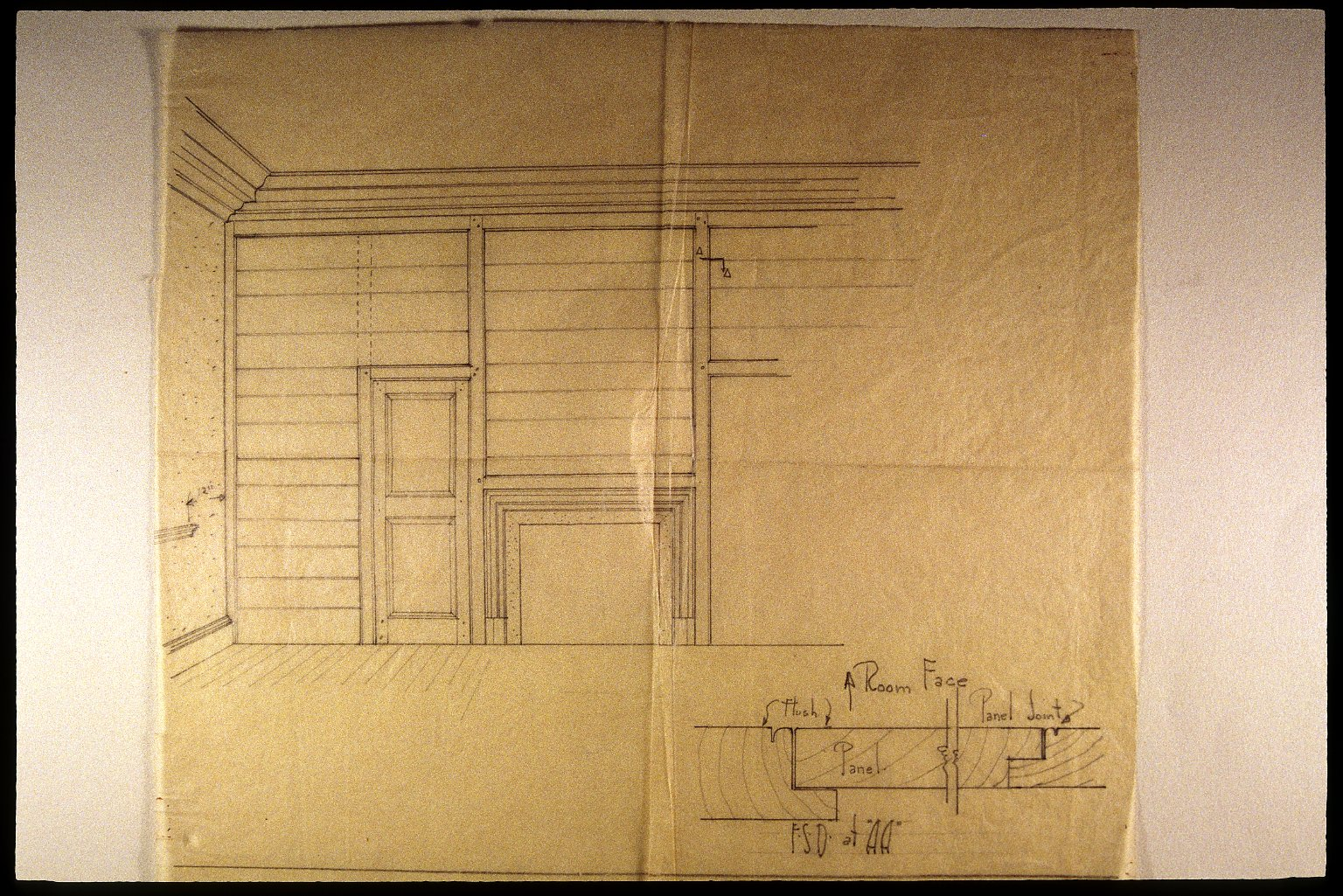 Monticello, South Pavilion, Grigg sketch for simple partition