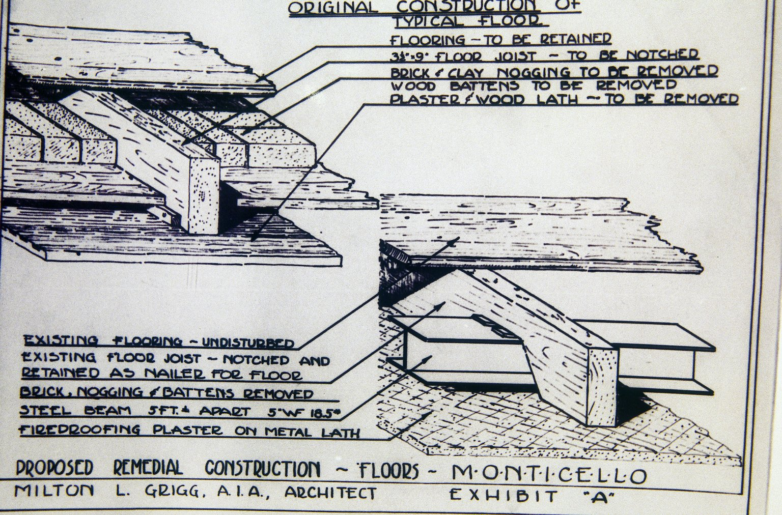 Monticello, restoration, sketch of original flow systems and proposed remedial action