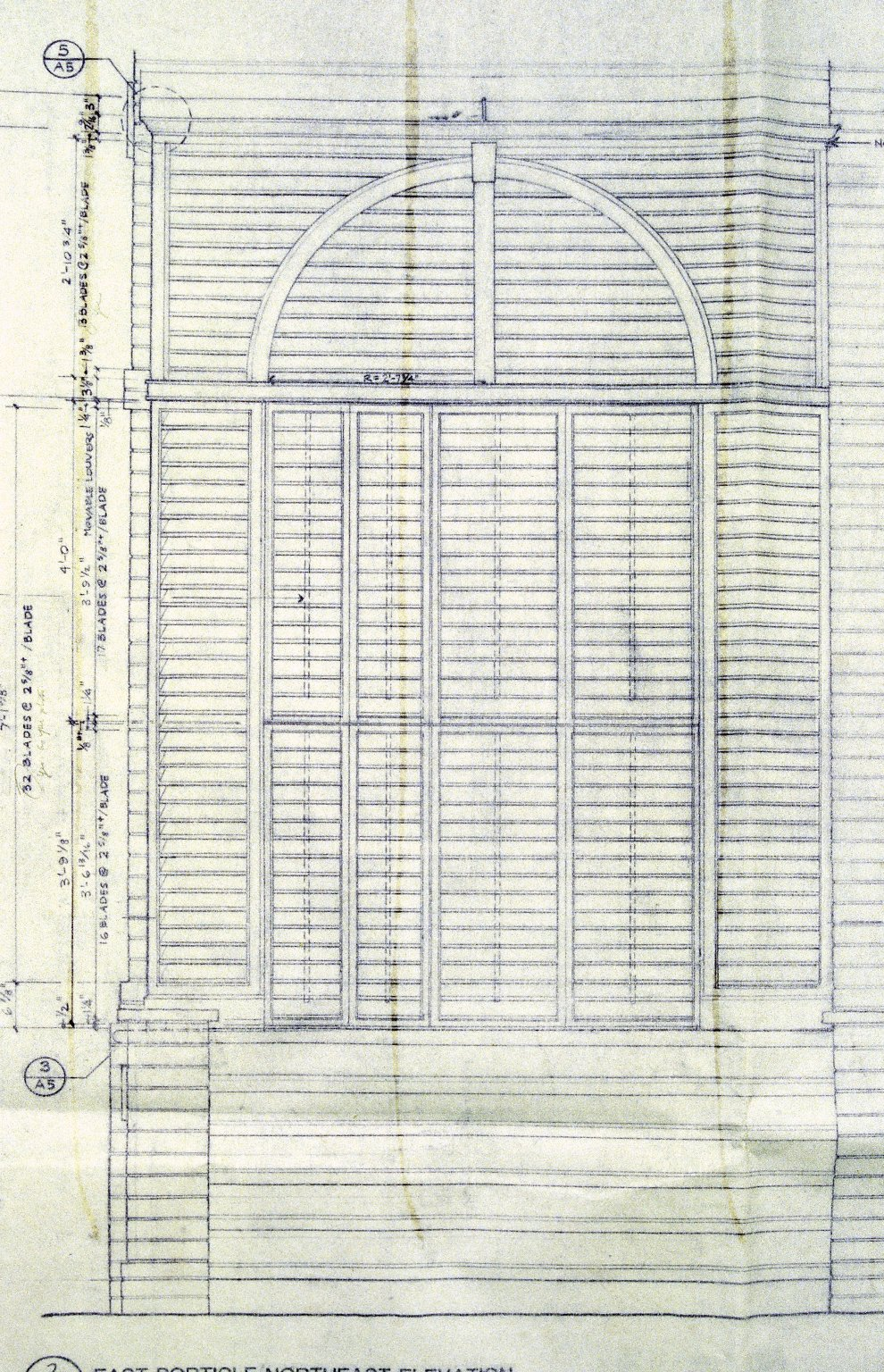 Monticello, restoration, elevation of doors to northeast arch of East Venetian porch, detail