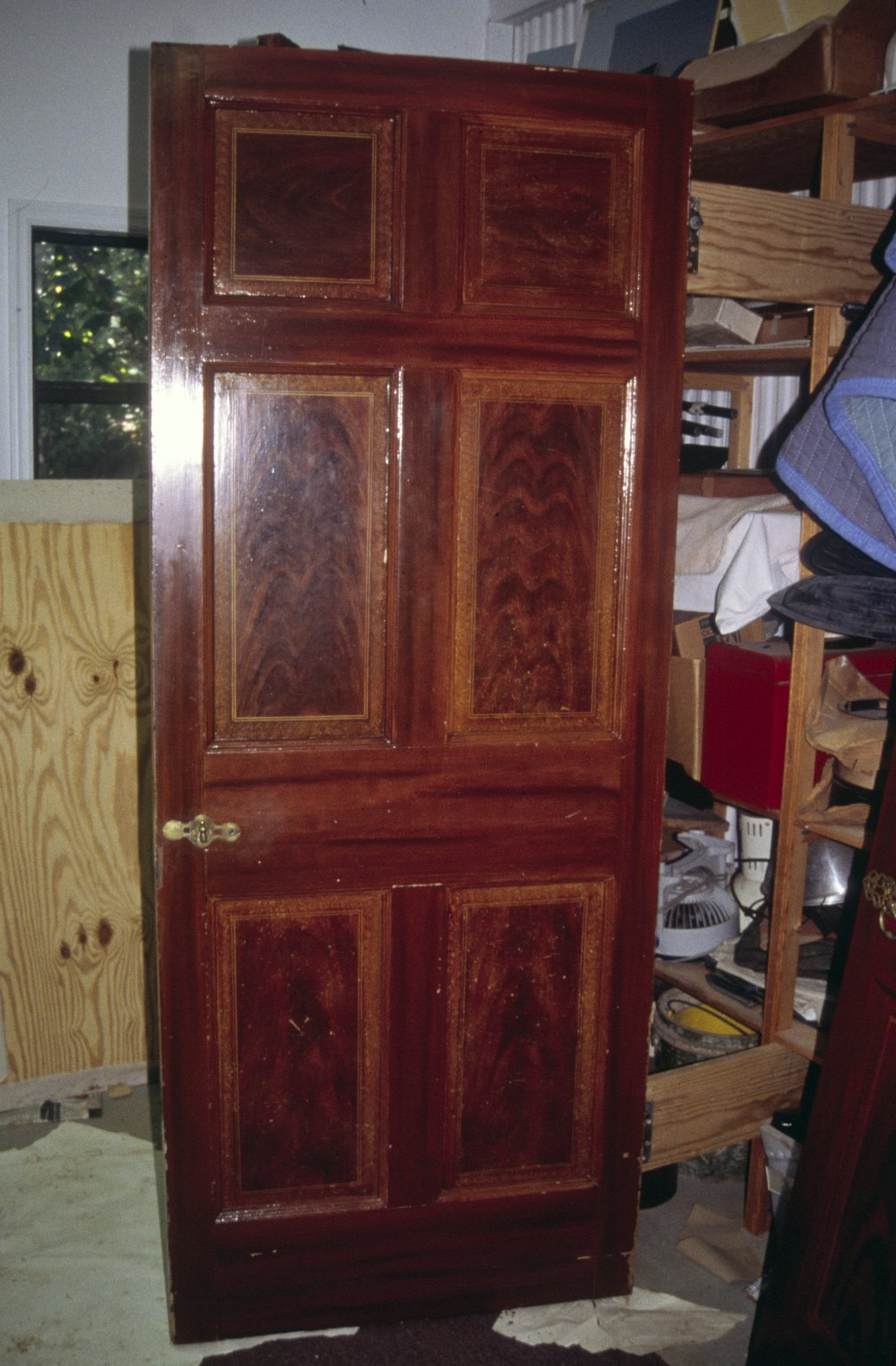 Monticello, restoration, Jefferson's Cabinet and Bedroom door, damage to conserved graining
