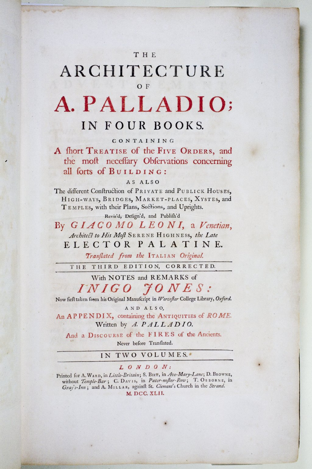 Title page, The Architecture of A. Palladio in Four Books