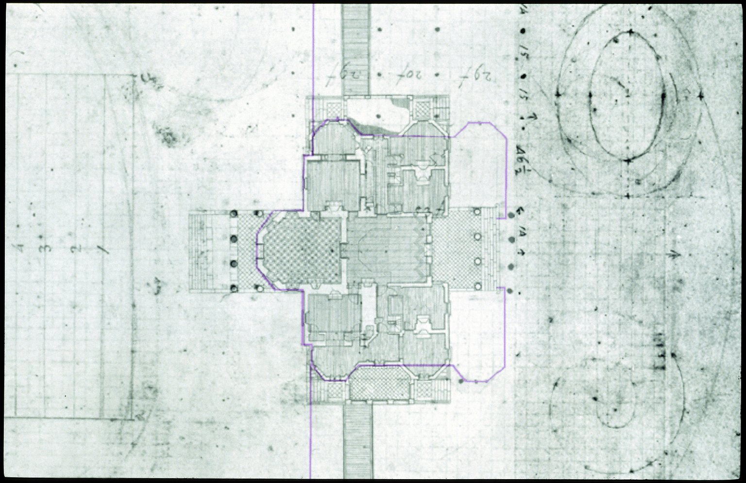 Monticello, house and grounds study superimposed on HABS plan for house and terraces, detail