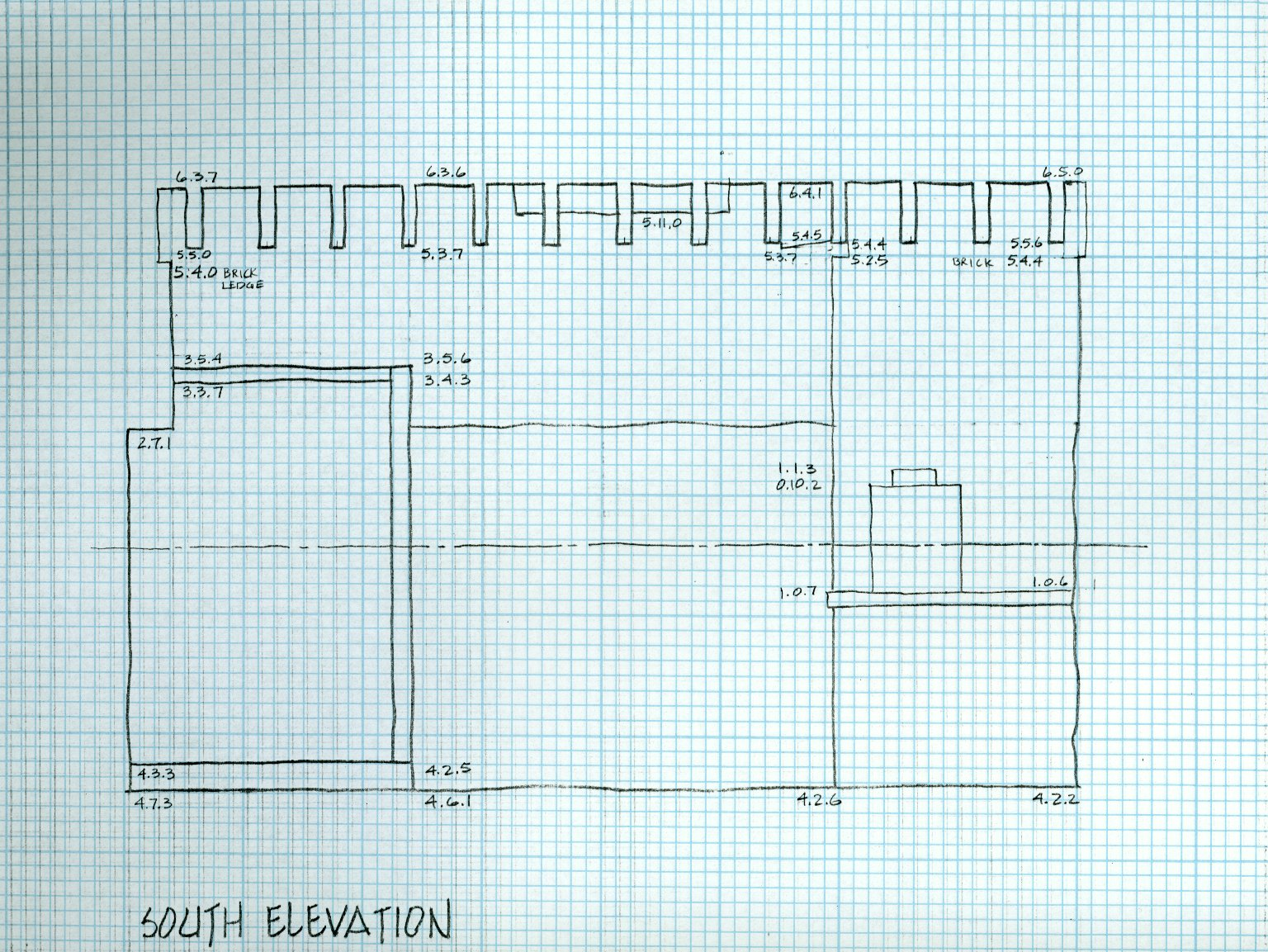 South Elevation, Laundry Elevations, North Terrace, sheet 3 of 5, detail