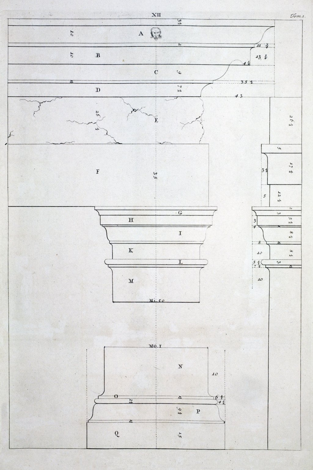 Tuscan order, capital and entablature, Book I, plate XII